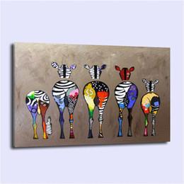 Современная абстрактная зебра онлайн-АБСТРАКТНАЯ ЦВЕТНАЯ ЗЕБРА, Домашний декор HD Печатная картина современного искусства на холсте (без рамки / в рамке)