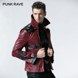 755c4e13e727e PUNK RAVE Men Gothic Rider Jacket Black and red colors Unique Punk Fur  Lining Italian Leather Cool Short Coats