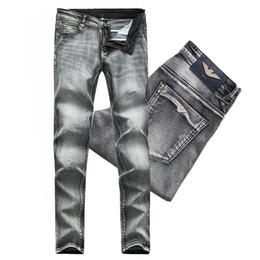2019 jean gris Jeans Homme Vintage Gris Coton Stretch Vintage Pour Homme Fade Washed Slim Fit Pantalon En Denim Homme jean gris pas cher