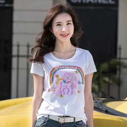 tee shirt design graphique Promotion Cristal Hot Fix Motifs 3D Tees Bureau Lady Business Sexy Slim Perles Graphique Tops Top Vente Été Paillettes T-shirt De Luxe Design Femmes