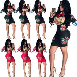 2019 красное платье для клуба xl Sexy длинным рукавом Цветочные платья женщин бинты Bodycon вечер Party Club Короткие Тонкий платье мини BlackRed