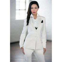 formal elegant women suits Promo Codes - New White Elegant Formal Work Wear Slim 2 Piece Sets Womens Business Suits Two Button Blazer Female Trousers Suit Office Unifor