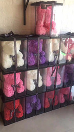 2019 cajas de jabón rosa Regalos Jabón Espuma 25cm Oso de Roses Teddi Oso Rosa Flor artificial del Año Nuevo para las mujeres maquillaje conjunto de San Valentín regalo de Navidad con caja de felpa cajas de jabón rosa baratos