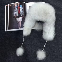 2019 cappelli da cossack Cappellino di pelliccia di volpe 100% reale inverno Russia Ushanka / cosacchi Cappelli di berretto di pelliccia di procione paraorecchie anti neve vento spessa caldo pelliccia di volpe cappelli da cossack economici