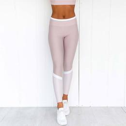 2019 pantaloni rosa capri yoga Leggings fitness da donna slim Allenamento casual Pantaloni da allenamento rosa Butt Leggings a righe bianche Activewear Palestre da yoga Bottino Capri sconti pantaloni rosa capri yoga