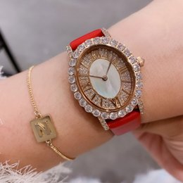 Meninas de marca alta assistir on-line-Com Marca LOGO luxo Mulheres Relógios Rosa de Ouro diamantes de couro enfrentar Lady relógio de pulso de quartzo de alta qualidade marca Designer relógios meninas presentes
