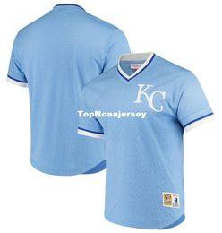 Cheap NEW MITCHELL   NESS Kansas City Light Blue V-neck MESH JERSEY KC  blank JERSEYS Retro Mens stitched baseball jerseys 0e7a9d4d1