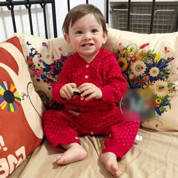 2019 baby boy одежда полька точка Chirstmas детский свитер ползунки INS младенцев дети оленей вышивка ползунки девочки в горошек клубничные комбинезоны с капюшоном baby boy одежда F9018 дешево baby boy одежда полька точка