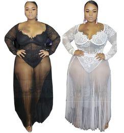 zwei stück damen overalls Rabatt Plus-Größe XL-4XL 5XL Frauen sexy Overalls + masche Kleid zweiteiliger Satz Art und Weise Bodysuits + reizvolle Spitze einteiligen Rock Dame Abendkleid 2520