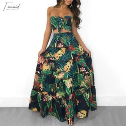 crop top skirt floral Promo Codes - New Boho Sexy Women Two Piece Set Crop Top Long Skirt Floral Printed Bandeau Strapless Bandage Ruffles High Waist Suit