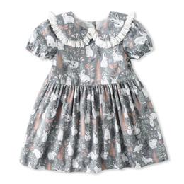 mädchen ente kleid Rabatt Kleinkind Baby Mädchen Kleid Baumwolle Cartoon Ente Katze Bär Kaninchen Druck Kurzarm Rock Kleid Baumwolle Outfit Kleidung