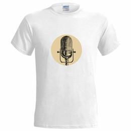 Logos de micrófonos online-Old School Microphone Logo CAMISETA PARA HOMBRES cantante abierta fiesta fiesta mike mic