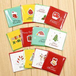 Tarjetas de felicitación para el nuevo año online-12pcs creativo Pequeño Feliz Navidad Tarjetas de felicitación de los niños Mini saludo de la Navidad del partido de Navidad Tarjetas de Año Nuevo Postal de tarjeta de regalo