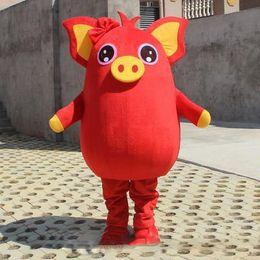 2019 venda quente porco amarelo porco vermelho mascote partido traje jogo adulto dress parade animal de aniversário supplier pig red dress de Fornecedores de vestido vermelho porco