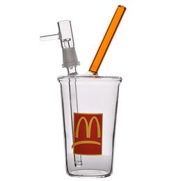 taza de aceite bong Rebajas 8 pulgadas Bong pequeño McDonalds Burbuja de vidrio Bongs de agua Vaso de vidrio Bong Tubería de agua Recicladora Plataforma de aceite Tallo descendente Copa de miel Cachimbas