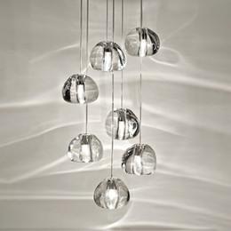 Modernos lustres de cozinha on-line-Sotão moderno lustre de iluminação bolas cristal brilho cozinha villa sala lâmpada pendurada escadaria lustres de cristal longos