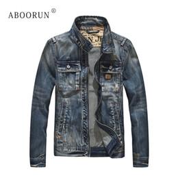 ABOORUN Moteur Denim Jacket Hommes Rétro Poches Avant Patchwork Slim Fit Denim Veste Printemps Automne Manteau pour Homme x2100 ? partir de fabricateur