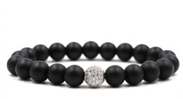 black ball beaded bracelets Promo Codes - 10mm yhd323 elastic adjusted nature black stone volcanic lava bead micro pave cz zircon cubic zirconia ball Bracelet
