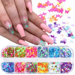 Schmetterlingsnageldekoration online-12 Grids 3D Nail Art Schmetterling Flakes Holographics Nagel Glitter Pailletten Dekoration DIY Nagel-Kunst-Design Schönheits-Salon Supplies