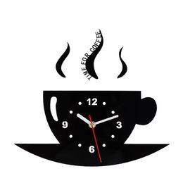 2019 decorare le pareti della cucina Tazza di caffè Orologio da parete Specchio Orologio Bardian Decorare Lato singolo Soggiorno circolare Forniture da cucina Puntatore in metallo Creativo 19ksC1 decorare le pareti della cucina economici