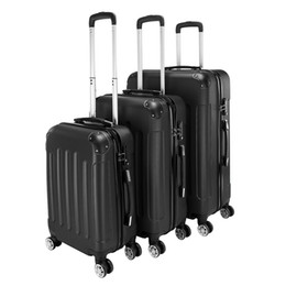 suitcase spinner Promo Codes - 3 Piece Expandable 20Inch 24Inch 28Inch Black Stylish Suitcases ABS Trolley Case Hardside Spinner Luggage Personalized trolley case Universa
