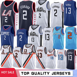 Camisas de basquete paul george on-line-NCAA 2 Kawhi Leonard College Jerseys 13 Paul George LA Clippers Basquete Jerseys Costurado 2019 Novo Basquete S-XXL Stock