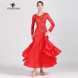 Blusa de encaje con falda larga de gasa Vestido de salón para mujer Bailarina Disfraz Vestido profesional moderno 2 colores disponibles A0005 desde fabricantes