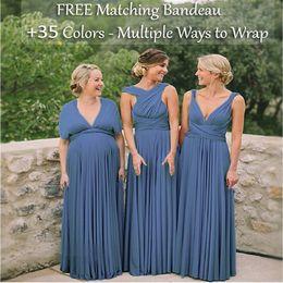 Günstige Steel Blue Brautjungfernkleider, Infinity-Kleid, Multi-Way Cabrio Kleider, Multi Wrap Brautkleider Long Floor Brautjungfernkleid von Fabrikanten