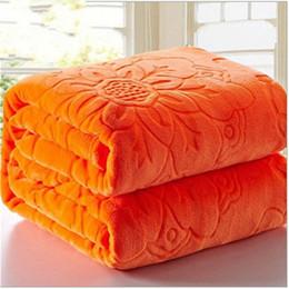 Оранжевый коралловый цвет онлайн-Роскошные качества фланель Одеяло ватки коралла Покрывало Твердая Оранжевый цвет для взрослых Multi-Size Простыни Плед сплошной цвет Одеяла