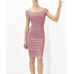 cfb23429c929 2019 vestito elegante sexy dalla fasciatura 2019 New Summer Bandage Dress  Donna Celebrity Manica Corta Spalle