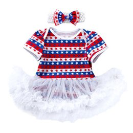 american flag suits Promo Codes - Baby Jumpsuit Clothing Sets Short Sleeve Two Piece Suit Star Striped Mesh Skirts American Flag Independence National Day Hollow Bow Headband