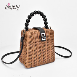 red hand bag for girls Promo Codes - 2019 New Designer bead hand-woven straw bag women handbags samll Tote Bags for Summer Travel Handle Bag Ladies Shoulder for Girl