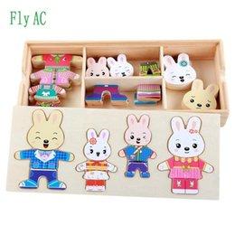 2019 kleider spielzeug aus holz Baby Nette Kaninchen Ändern Kleidung Puzzle Frühen Kindheit Holz Puzzle Geschenk Spielzeug Für Kinder Q190530 günstig kleider spielzeug aus holz