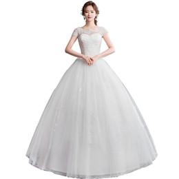 Wholesale Colher Pescoço Tule vestido de Baile Vestidos de Noiva com Pérolas de Renda Marfim Branco Até O Chão Vestidos de Casamento Do Comprimento