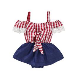 2019 baberos de bebé de encaje Nueva Baby Girl Lace Denim Body Bib Dress Pants Summer Plaid Clothes rebajas baberos de bebé de encaje