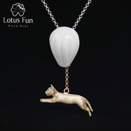Colar de pingente de balão de ar quente on-line-Lotus Fun real prata esterlina 925 Handmade Fine Jewelry impertinente do gato e balão de ar quente Pendant sem Colar por Mulheres