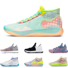 Kd sneakers kinder online-2019 herren basketballschuhe KD 10 12 EYBL 90S KID WARRIORS HOME Wolf Grau UNIVERSITY RED FINALS sport turnschuhe trainer größe 7-12