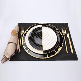 Cerâmica folheada a ouro para pratos decorativos / Combinação de três peças de faca, garfo e colher / Conjunto de mesa de combinação de Fornecedores de conjunto de colher de garfos de cerâmica