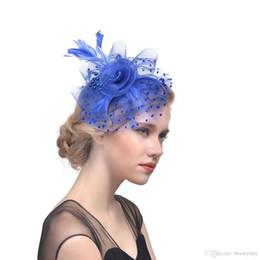 Véus de organza on-line-14 Cores Nupcial chapéus Fascinator Cabelo De Noiva Birdcage Véu Chapéu Chapéus De Casamento Fascinators Baratos Femininas Flores De Cabelo Para A Festa De Casamento