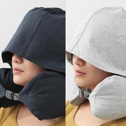 2019 almohada terapia de sueño htga 2019 en forma de T de memoria cuello de la espuma almohadas suaves Rebote más lento viaje espacial almohada inflable sólido Avión cuello almohada de viaje