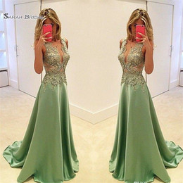 plunge maxi dress sexy Coupons - Sexy A Line Satin Evening Gowns Long Prom Dresses Appliques Plunging Neckline Formal Party Maxi Dress