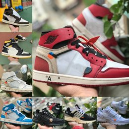 Comprar zapatos de baloncesto online-Tienda de venta Travis Scotts X 1 OG alta Zapatos de baloncesto baratos Mediados Real prohibido Bred Negro dedo del pie negro Hombres Mujeres 1s no para reventa V2 Presto zapatos