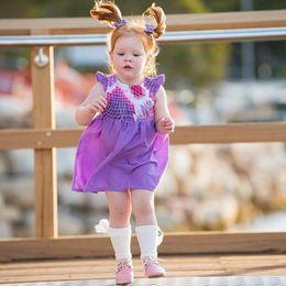 Argentina Niñas volando vestido de manga Niños estampado geométrico vestidos de princesa 2019 verano Boutique Kids Clothing C001 supplier geometric boutique dresses Suministro