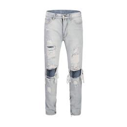 Magro Light Blue Jeans Uomo Alta Moda lavato rotto denim del foro Pantaloni Zipper apertura design slim fit jeans strappati Homme