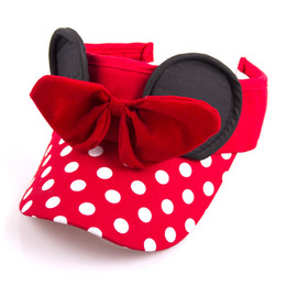 Sombrero de punto para niños online-2019 Nuevo Bebé Niños Viseras Sombreros de Dibujos Animados Bowknot Caps Dots Caps Girls Sun Hat Vacío superior Summer Hat 5 colores C6709