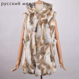 Argentina Invierno caliente chaleco de piel de conejo genuino con capucha de piel de conejo chaleco de señora 100% natural chaleco de piel real para mujer largo abrigo de chaqueta Suministro