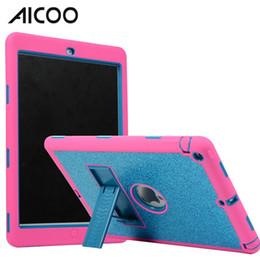 Paillettes en Ligne-AICOO Glitter Silicone PC Bling Tablet Case Hybrid Antichoc 2 en 1 avec Kickstand évider contraste de couleur pour iPad Air iPad 5 OPP