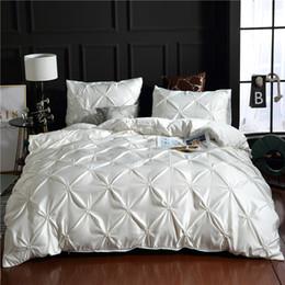 2019 оборка одеяла набор королева White  100% Super Soft Washed Silk Duvet Cover Set 3Pcs/Set Pinch Pleat Brief Bedding Sets Queen King Size