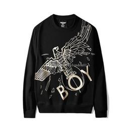 Adler junge schwarzen pullover online-Boy London Fashion Designer Hoodies Mens-Qualitäts-Eagle-Druck Sweatshirts Langarmshirt von Luxus Männer Frauen Paare Pullover Schwarz S-2XL