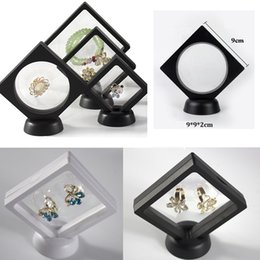 wholesale jewelry display stand Coupons - Jewelry Ring Pendant Display Stand Suspended Floating Display Case Jewellery Coins Gems Artefacts Stand Holder Box For Women white black